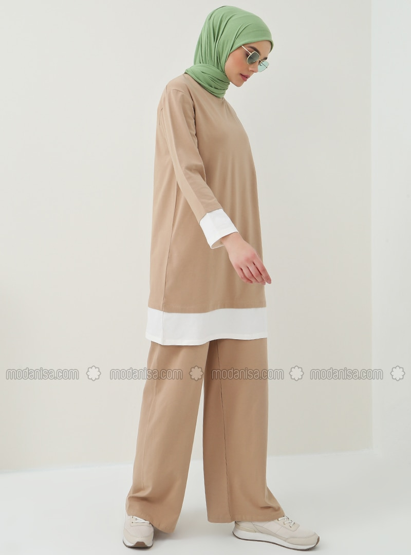 Camel - Cotton - Crew neck - Tracksuit Set