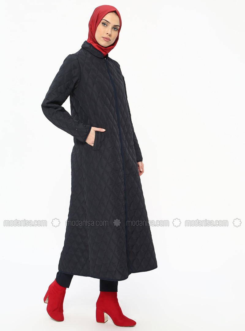 Navy Blue - Unlined - Crew neck - Coat