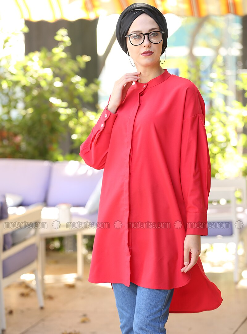 Red - Polo neck - Tunic