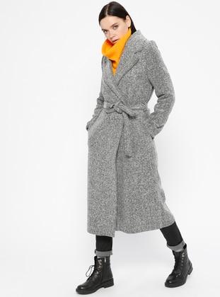 Gray - Stripe - Fully Lined - Shawl Collar - Acrylic - Coat