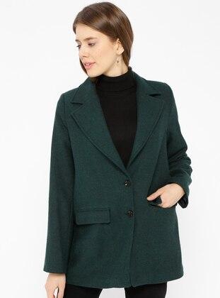 Green - Emerald - Fully Lined - Shawl Collar - Jacket