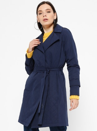 Navy Blue - Indigo - Fully Lined - Shawl Collar - Trench Coat