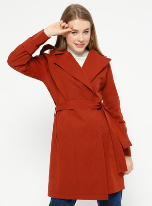 Terra Cotta - Fully Lined - Shawl Collar - Trench Coat
