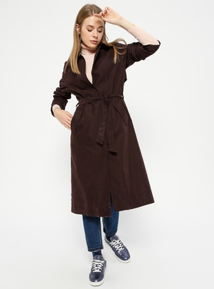 Plum - Unlined - Point Collar - Trench Coat
