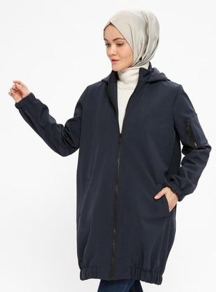 Navy Blue - Polo neck - Coat