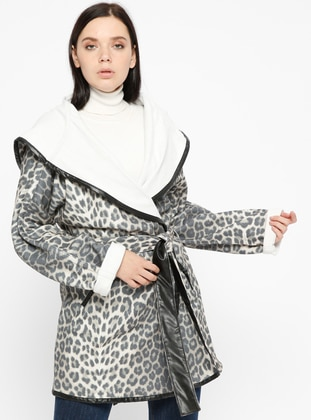 Gray - Leopard - Unlined - Shawl Collar - Coat