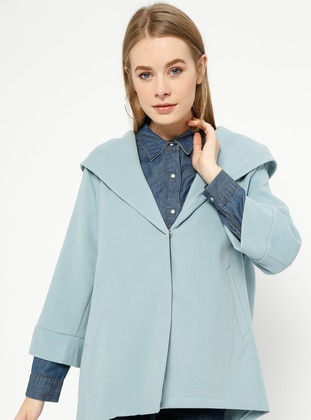 Blue - Baby Blue - Unlined - Shawl Collar - Acrylic - Coat
