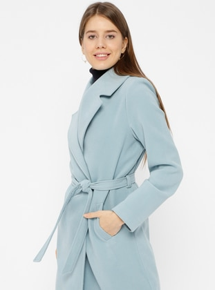 Blue - Baby Blue - Fully Lined - Shawl Collar - Coat