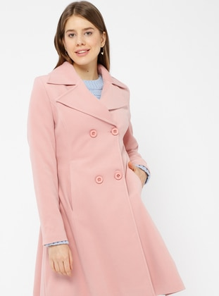 Pink - Fully Lined - Shawl Collar - Coat