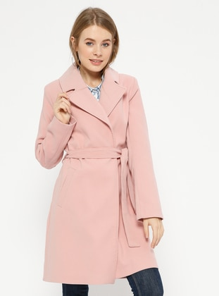 Pink - Powder - Fully Lined - Shawl Collar - Coat