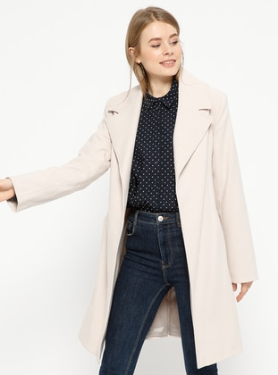 Beige - Fully Lined - Shawl Collar - Coat