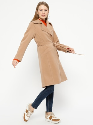 Camel - Fully Lined - Shawl Collar - Coat
