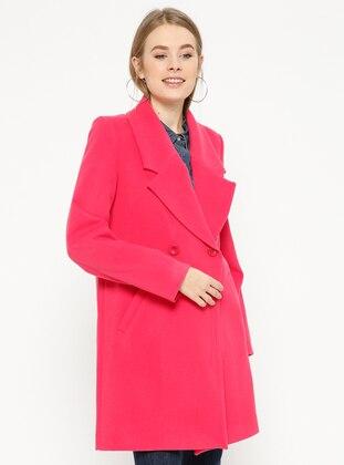Pink - Fuchsia - Fully Lined - Shawl Collar - Coat