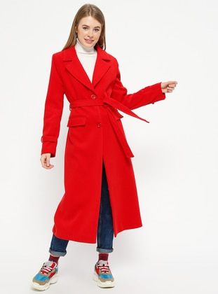 Red - Fully Lined - Shawl Collar - Coat