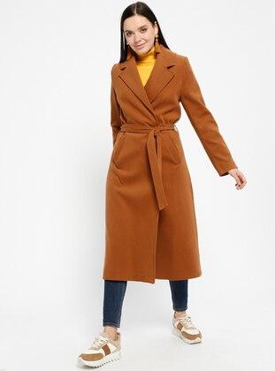 Tan - Fully Lined - Shawl Collar - Coat