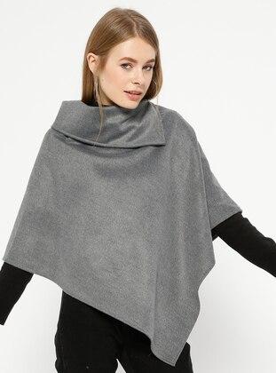 Gray - Polo neck - Unlined - Poncho