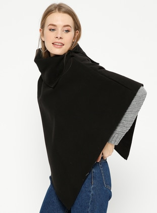 Black - Polo neck - Unlined - Poncho