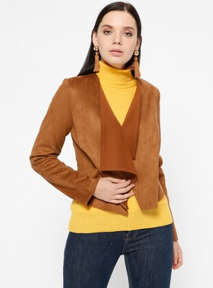 Tan - Unlined - Shawl Collar - Jacket