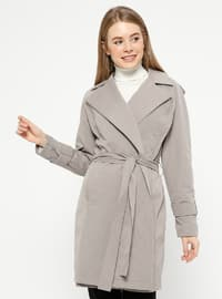 Gray - Fully Lined - Shawl Collar - Trench Coat