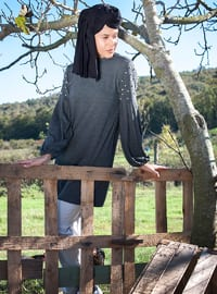 Gray - Crew neck - Tunic