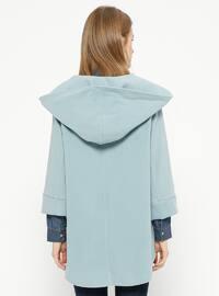 Blue - Baby Blue - Unlined - Shawl Collar - Acrylic - Coat