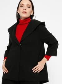 Black - Unlined - Shawl Collar - Acrylic - Coat