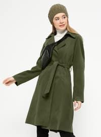 Khaki - Fully Lined - Shawl Collar - Coat