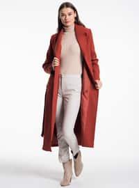 Terra Cotta - Fully Lined - Shawl Collar - Coat