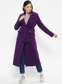 Purple - Fully Lined - Shawl Collar - Coat