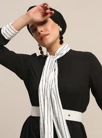 White - Ecru - Stripe - Polo neck - Tunic
