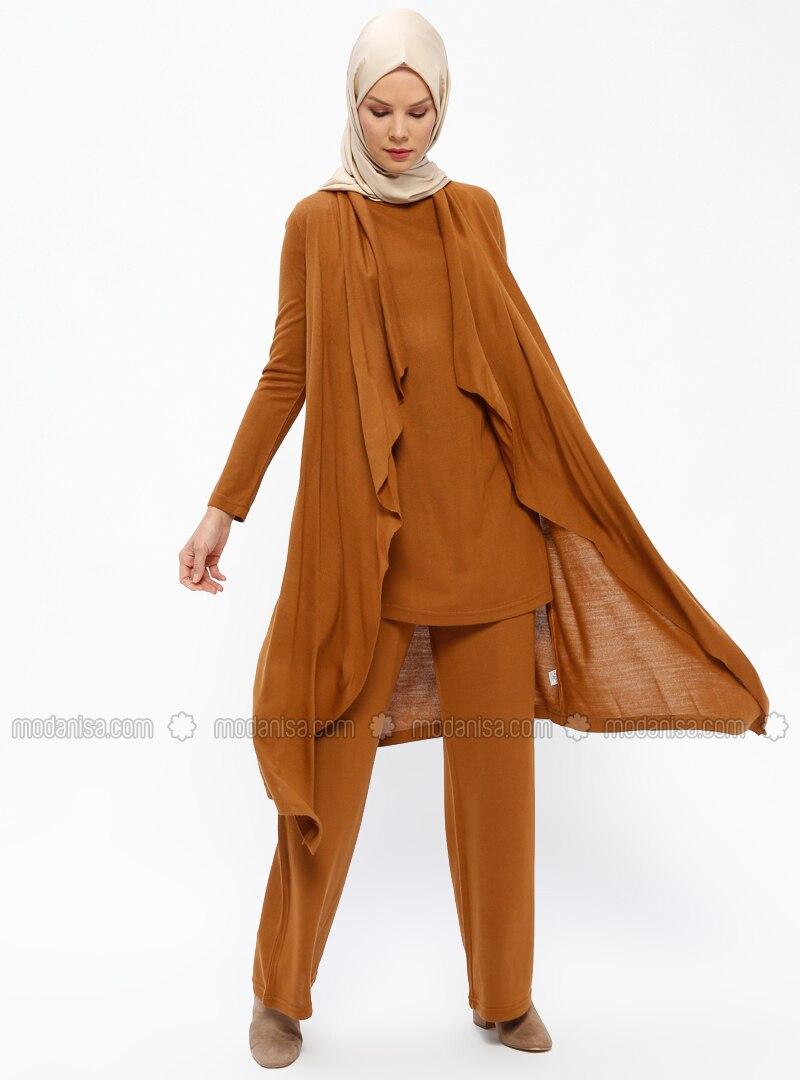 32bf43d16a79 Tan - Unlined - Acrylic - - Suit. Fotoğrafı büyütmek için tıklayın