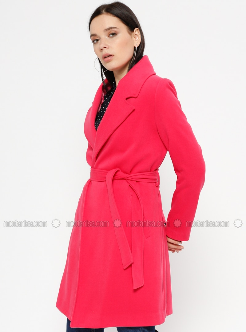Pink - Fuchsia - Fully Lined - Shawl Collar - Coat