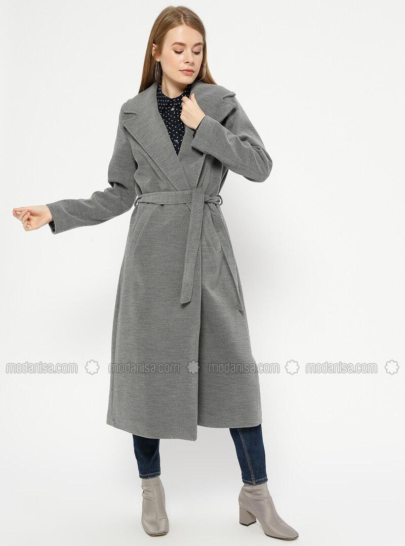 Gray - Fully Lined - Shawl Collar - Coat
