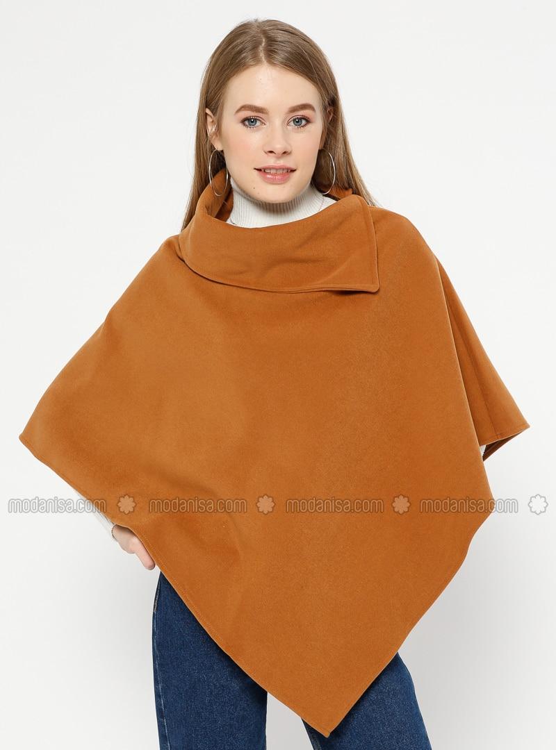 Tan - Polo neck - Unlined - Poncho