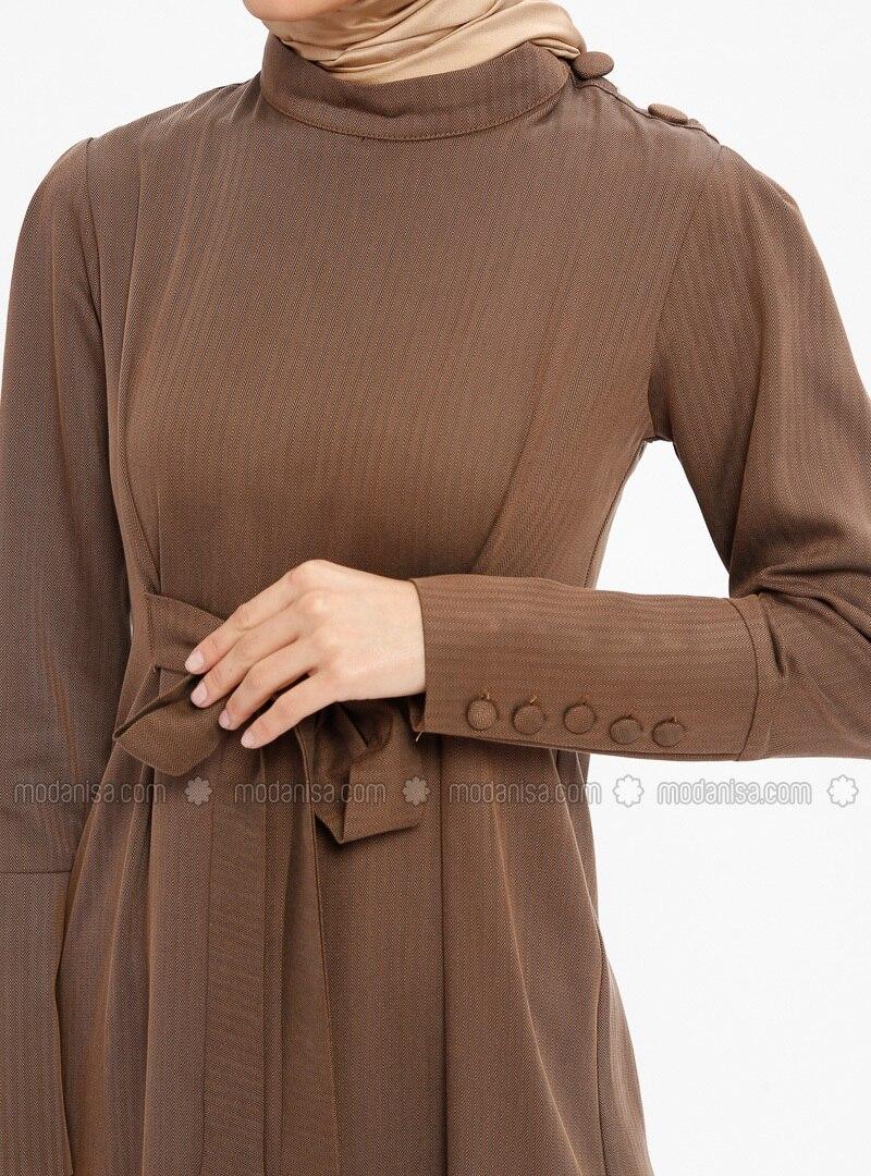 694f21e7f24 Brown - Polo neck - Tunic