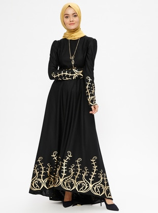 Navy Blue - Multi - Unlined - Crew neck - Muslim Evening Dress 9c263a53d15f