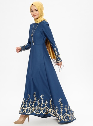 Indigo - Multi - Unlined - Crew neck - Muslim Evening Dress