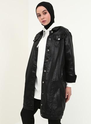 Black - Unlined - Point Collar - Cotton - Denim - Jacket - Benin