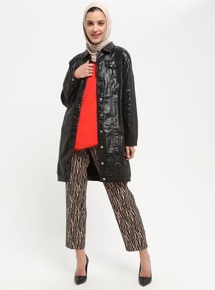 Black - Unlined - Point Collar - Cotton - Denim - Jacket