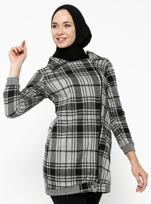 Gray - Plaid - Unlined - Point Collar - Cotton - Topcoat