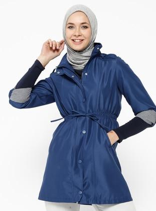 Navy Blue - Indigo - Fully Lined - Polo neck - Trench Coat