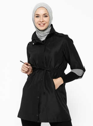 Black - Fully Lined - Polo neck - Trench Coat