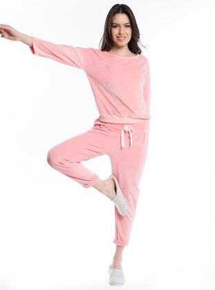 Kadife Pijama Takımı - Somon - Pamuk&Pamuk Ürün Resmi