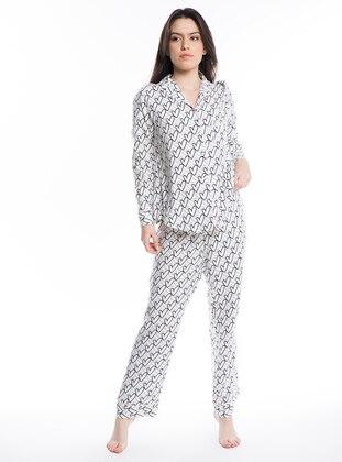 Kalp Desenli Gömlek Pijama Takımı - Beyaz - Pamuk&Pamuk Ürün Resmi