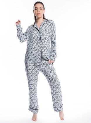 Kalp Desenli Gömlek Pijama Takımı - Gri - Pamuk&Pamuk Ürün Resmi