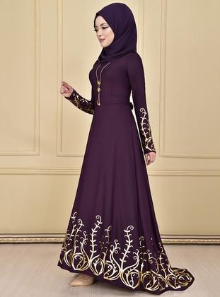 Purple - Gold - Multi - Unlined - Crew neck - Muslim Evening Dress