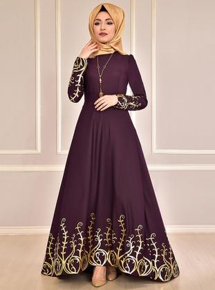 Gold - Plum - Multi - Unlined - Crew neck - Muslim Evening Dress