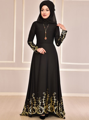Black - Multi - Unlined - Crew neck - Muslim Evening Dress