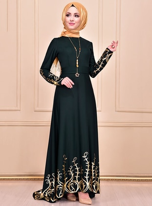 Emerald - Multi - Unlined - Crew neck - Muslim Evening Dress - AYŞE MELEK TASARIM
