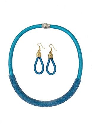 Takıştır Bijuteri Küpe Kolye Set - Mavi